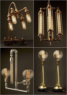 Edison Light Globes, Brassy & Classy Steampunk-Style Lamp Fixtures https://www.tsu.co/steampunktendencies