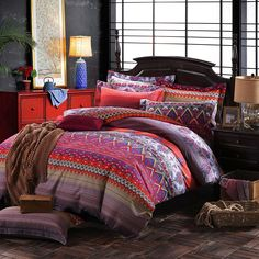 LELVA Colorful Bohemian Ethnic Style Bedding Boho Duvet Cover Bohemian Sheet Sets Baroque Style Bedding 4 Pcs