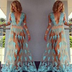2019 Fashion Women Fashion Sexy Seaside Sunscreen Long Dress Vogue Can Perspective Tulle Dress Elegant Lady V-neck Cool Chiffon Dress In Short Supply Women's Clothing
