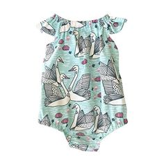 Weixinbuy Baby Girls Romper Summer Print Cap Sleeve Jumpsuit Outfits Sunsuit