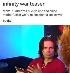 Marvel Jokes, Funny Marvel Memes, Dc Memes, Avengers Memes, Marvel Dc Comics, Marvel Avengers, Female Avengers, Bucky Barnes, Infinity War