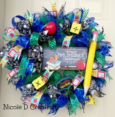 Deco Mesh Wreath Teacher Wreath Summer Wreath by NicoleDCreations