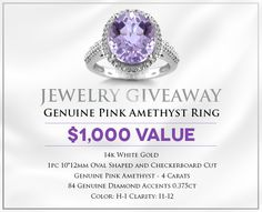 Holsted Jewelers · Wearing Is Believing ends Amethyst And Diamond Ring, Pink Amethyst, Shopping Spree, White Gold Diamonds, Jewlery, Fashion Jewelry, Rings, How To Wear, Giveaways