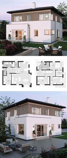 Moderne Landhaus Stadtvilla Grundriss Mit Walmdach Architektur, Erker Anbau  U0026 Holz Fassade   Einfamilienhaus Bauen