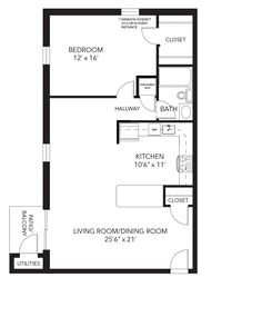 Banbury Floor Plan   1 Bed, 1 Bath, 870 Sq Ft