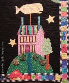 """close up, """"My Town"""" by Ruth Peterson Ewers, from a class with Gwen Marston and Freddy Moran.  Photo by Quilt Inspiration. Best of the 2015 Springville (Utah) Quilt Show (part 2)."""