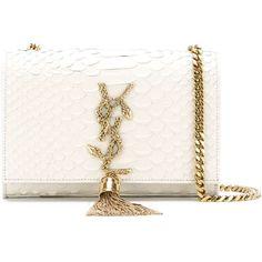 Saint Laurent 'Classic Monogram' crossbody bag ($2,030) ❤ liked on Polyvore featuring bags, handbags, shoulder bags, white, leather crossbody purse, white shoulder bag, white leather handbags, leather crossbody handbags and leather cross body purse