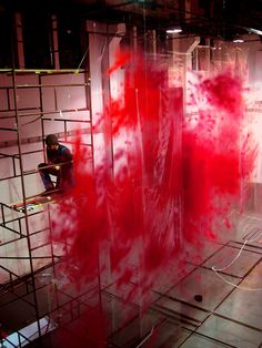 David Spriggs 2012 RED series of painted transparencies, installation process