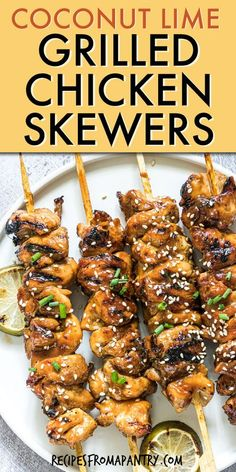 Check out these moist Coconut Lime Grilled Chicken Skewers. This Chicken Skewer marinade recipe brings an Asian flair to your summertime quick dinner on the grill. Grilled Chicken Kabobs are an easy and convenient way to cook for a crowd, are perfect for appetizers or starters and are great for BBQ's. You can even make these chicken skewers in the Air Fryer or on your portable grill. Click thru to get the best Chicken Skewer recipe. #chickenskewer #chickenkabob #shishkabob #grillrecipe #chicken Easy Potluck Recipes, Air Fryer Dinner Recipes, Healthy Grilling Recipes, Easy Chicken Recipes, Lunch Recipes, Drink Recipes, Turkey Recipes, Grilled Recipes, Healthy Meals