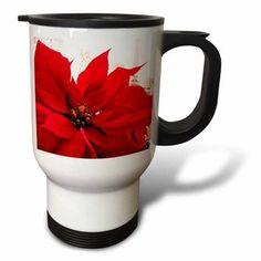 3dRose Poinsettia, Travel Mug, 14oz, Stainless Steel