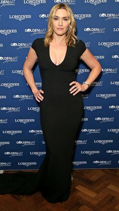 Kate Winslet in a body-con black dress
