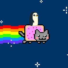 Gunter the penguin (Adventure Time) riding on Nyan Cat
