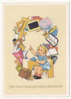 Schulanfang Ak Mädchen mit vielen Schulsachen H.K. signiert um 1960 DDR ! (A516 in Sammeln & Seltenes, Ansichtskarten, Motive | eBay