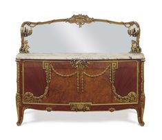 c1910 A LARGE FRENCH ORMOLU-MOUNTED SATINE AND AMBOYNA BUFFET AND MIRROR ATTRIBUTED TO MAISON JANSEN, PARIS, CIRCA 1910 Price realised USD 56,250 Furniture Ads, Upholstered Furniture, Furniture Projects, Modern Furniture, Furniture Design, Furniture Websites, Royal Bedroom, Antique French Furniture, Beautiful Dining Rooms