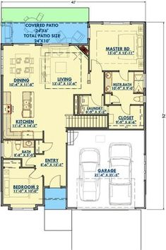 Cozy Bungalow with Optional Finished Lower Level - 64437SC floor plan - Main Level