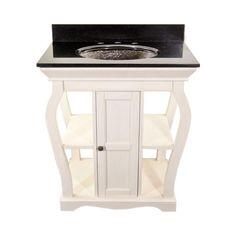 JSG Oceana Antique White Vineta Bathroom Vanity with Black Granite Top & Black Nickel Oceana Undermount