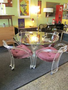 Lucite & Glass table set by mod livin mid century retro modern furniture store, via Flickr