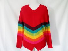 90's Rainbow Striped Sweater Vintage Rainbow by ChinaCatVintage