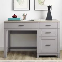 Furniture In Fashion Carver Lift Top Laptop Desk In Grey And Weathered Oak Metal Drawers, Storage Drawers, Desk With Storage, Standing Desk Height, Standing Desks, Top Computer, Hanging File Folders, Solid Wood Desk, Grey Desk