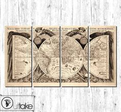 Vintage world map Canvas Art Print Ready to Hang  by OuttakeCanvas, $199.00