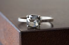 Image of Natural Clear Silver-Green Rose Cut Diamond Ring