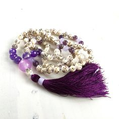 Amethyst And Jade Mala Beads, Salwag Seed Mala Necklace, Unique... ($72) ❤ liked on Polyvore featuring jewelry and necklaces