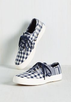 Pastime Flies Sneakers. When youre having as much fun as you do in these gingham Keds, the day just rolls by! #blue #modcloth