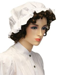 The mob cap has a long history that started among the wealthy aristocrats during the Georgian era. Our version most closely resembles those used during the Victorian era by servants and maids to protect their hair.100% cotton. Imported. One size fits most. Features cap with ties to secure to the head and a two inch ruffled edge for decoration.