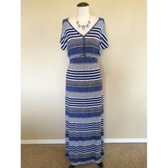 Elastic Waist Maxi (Blue Striped) Dress sz M NWT Dolman Sleeve Elastic Waist Maxi (Blue Striped) Dress sz M NWT  The fabric is stretchy so it is very comfortable and light weight. The necklace is NOT included.                                                                                               NO TRADES NO PAYPAL Dresses Maxi
