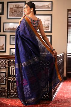 Blue Organic Linen Saree With Jamdani Pallu - Roopkatha - A Story of Art