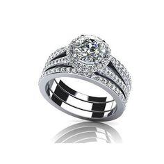 Round Cut 7.4mm D/VVS1 Diamond 14k White Gold Wedding Bridal Set Ring #affinityhomeshopping
