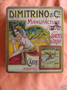 Tobacco tin, Dimitrino Egyptian Cigarettes, Cairo, Egypt, c. 1910.