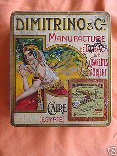 Tobacco tin, Dimitrino Egyptian Cigarettes, Cairo, Egypt, c. 1910.