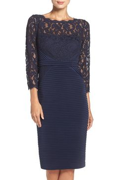 Free shipping and returns on Adrianna Papell Lace & Jersey Sheath Dress at Nordstrom.com. Romantic lace decorates the illusion bodice of a flattering cocktail dress textured in pintuck pleats through the waist-narrowing pencil skirt.