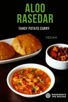 Aloo rasedar is a spiced and tasty potato gravy dish from the Uttar Pradesh cuisine. This an aasy potato curry recipe which is made with tomatoes, ginger, spices and of course potatoes. 'Rasedar' means having a slightly thin consistency in the curry or gravy. Aloo Recipes, Curry Recipes, Potato Recipes, Vegetable Recipes, Easy Vegetarian Curry, Vegan Curry, Vegetable Curry, Vegetable Dishes, Potato Gravy