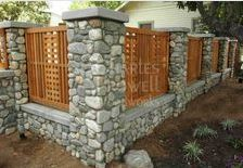 Outdoor, Wood And Stone Fence Designs With Cedar Fence Designs And Cedar Fences Designs: Deciding Appropriate Ideas of Cedar Fence Designs for Your Front Yard Looks Neat Stone Fence, Brick Fence, Front Yard Fence, Cedar Fence, Low Fence, Gabion Fence, Easy Fence, Wood Fences, Small Fence