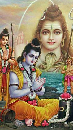 Rama Propitiates Shiva for His Blessings to Defeat Ravana - Hindu Posters (Reprint on Glazed Paper - Unframed) Lord Rama Images, Lord Shiva Hd Images, Lord Vishnu Wallpapers, Shiva Parvati Images, Hanuman Images, Shree Ram Images, Lord Sri Rama, Shri Ram Photo, Shiva Shankar
