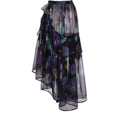 Alberta Ferretti     Printed Chiffon Asymmetrical  Skirt (7.570 BRL) ❤ liked on Polyvore featuring skirts, alberta ferretti, floral, floral chiffon skirt, blue skirt, chiffon a line skirt, asymmetrical chiffon skirt and floral print skirt