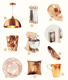 Decorando com cobre - Gulab Pipe Furniture, Furniture Design, Rose Gold, Bedroom Inspo, V60 Coffee, Decorative Items, Home Accessories, Kitchenaid, Interior Design