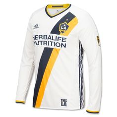 164e8c09c adidas LA Galaxy Home 2016 Long Sleeve Authentic Jersey (White Navy Yellow)