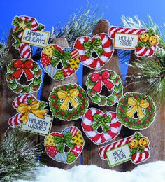 Design Works Counted Cross Stitch Kit ~ CANDY CANES & WREATHS Ornaments