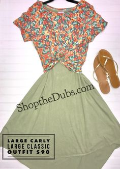 Carly and Classic T magic! Summer is still here and this outfit is fire! For more ideas and styles visit Lularoe Rawan and Letisha VIP at shopthedubs.com  #lularoe #Carly #ClassicT #