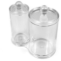 Sorbus Acrylic Cotton Ball and Swab Holder, Attached Containers with Separate Lids, Clear