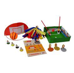 Caja BeeBox Deportes ⚽️.  Cada caja de BeeBox incluye 3 o 4 manualidades con los materiales y el instructivo para desarrollar los proyectos, actividades que vas a encontrar en esta caja: Deportes… para jugar en equipo. Apunta, lanza y encesta. Cobros de penaltis. Carrera en bici. Pompones y Medallas.