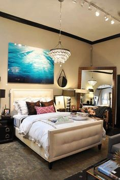 Love the large framed mirror
