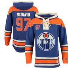 Old Time Hockey Connor McDavid Edmonton Oilers Royal Current Player Lacer Name & Number Hoodie