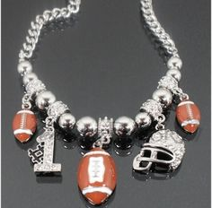 Football Enamel & Bling Charm Necklace