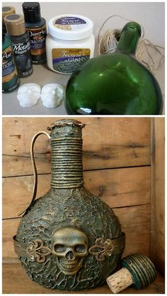 DIY Pirate Bottle Tutorial from Angelica. Incredibly detailed tutorial for how to turn a plain bottle into something really special. Lots of tips you can use for other projects: aluminum tape as embellishment, how to texture glass with paint that won't peel off, color washing to age and create patina, spoons as handles, etc… Also - what looks like a leather strap is embossed cardstock.