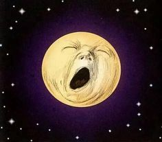 """Yawning moon illustration by Jef Murray from the book """"Black & White Ogre Country"""" by Hilary Tolkien Sun Moon Stars, Moon Moon, Sun And Stars, Luna Moon, Moon Dust, Illustrations, Illustration Art, Moon Face, Moon Pictures"""