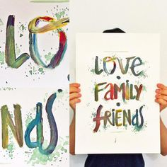 Love • Family • Friends Traditional painting with acrylic colors. Check more art at http://rodrigofal.co/365dias/  #art #illustration #type #typography #painting